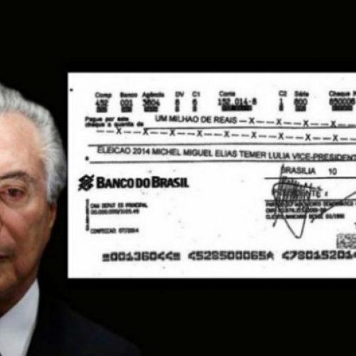 O cheque de R$ 1 milhão da empreiteira para a campanha de Temer em 2014
