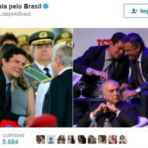 No Twitter, Lula posta fotos de Moro com Temer e Aécio