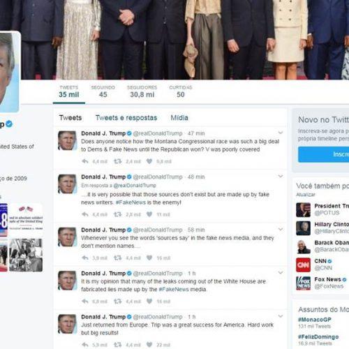 Trump volta a usar o Twitter para fazer desabafo contra a mídia