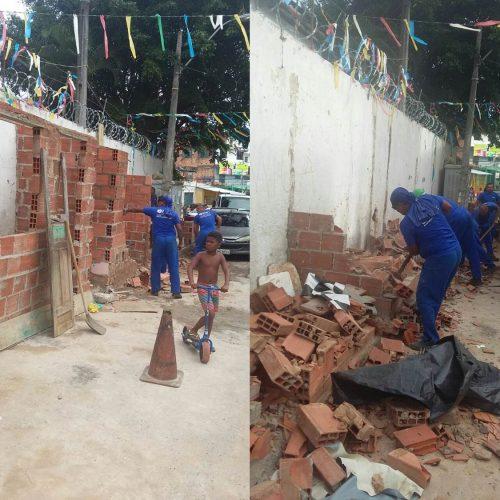 Prefeitura derruba oito boxes irregulares em passeio público na Sussuarana