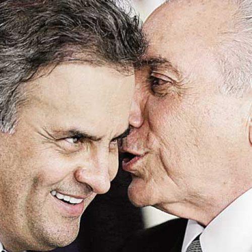 Em busca de apoio do PSDB, Temer janta com Aécio no Jaburu