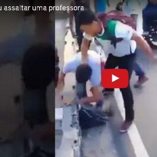 Ladrão tenta assaltar professora e leva surra de estudantes; veja o vídeo