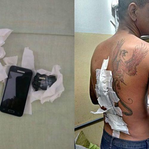 Conquista: Detento retorna de saidão e tenta entrar no presídio com celular nas costas