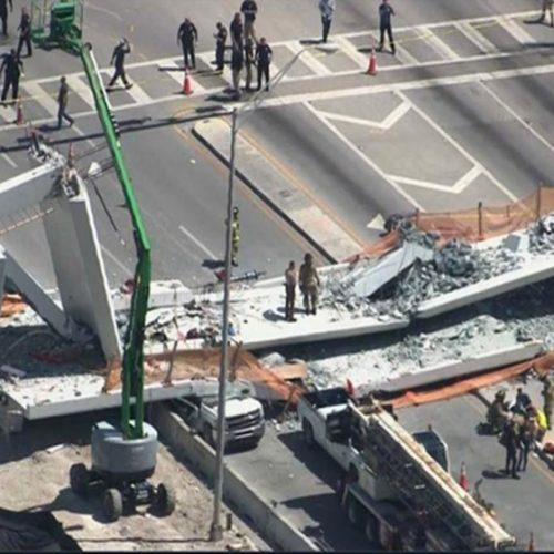 Ponte desaba sobre carros deixando mortos e feridos em Miami
