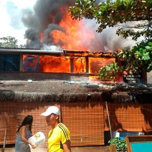 Restaurante é atingido por incêndio em Morro de São Paulo