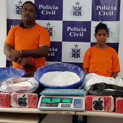 Feira de Santana: Casal é preso com 40 kg de cocaína; droga está avaliada em R$ 500 mil