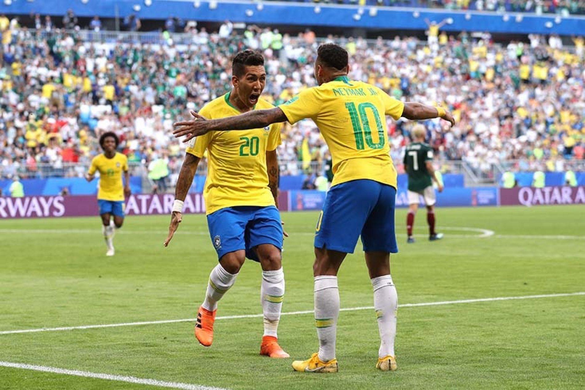 Brasil derrota o México por 2 x 0 e espera vencedor de Bélgica x Japão
