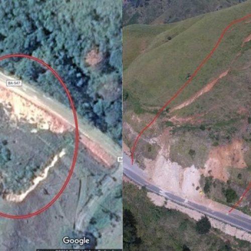 Morro ameaça desabar em rodovia que liga Jequié a Gandu