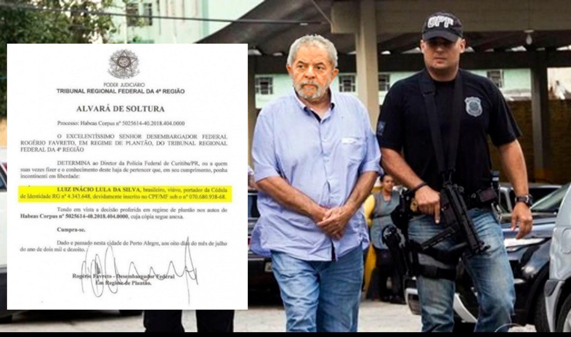 Site de Lula publica íntegra do alvará de soltura do TRF-4