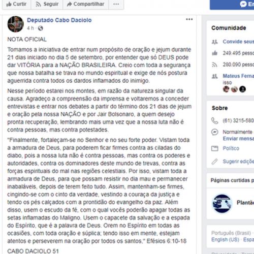 Cabo Daciolo anuncia jejum de 21 dias por Bolsonaro