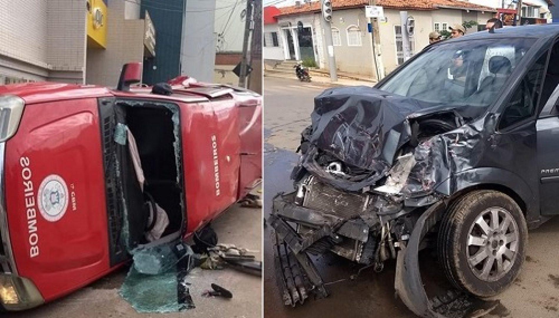 Carro bate em viatura dos Bombeiros e três ficam feridos em Barreiras