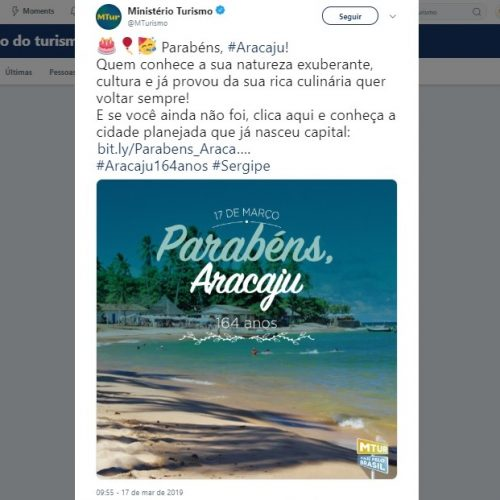 Pegou mal! Governo Federal usa foto da Praia do Forte em homenagem ao aniversário de Aracaju
